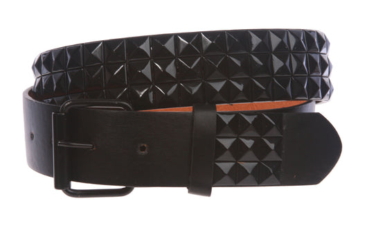 Snap On Punk Rock Black Star Studded Checker Board Pattern Leather Belt