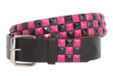 "Snap On 1 1/2"" Fuchsia & Black Checkerboard Punk Rock Studded Belt"