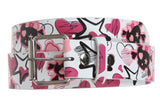 Snap On Pink Bow Skull and Crossbones Printed Fashion Belt
