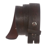 Snap On Embossed Leather Casual Belt Strap