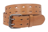 Snap On Two Row Cut-out Holes Leather Belt