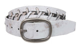 "1 1/2"" (38 mm) Snap On Oval Buckle Braided Leather Jean Belt"