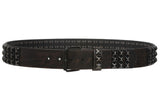 "Snap On 1 3/4"" Three Row Punk Rock Star Distressed Black Studded Leather Belt"