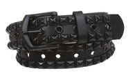 Snap On Two Row Punk Rock Black Star Studs with Grommets Leather Belt
