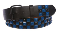 Snap On Punk Rock Black & Blue Star Studded Checker Board Pattern Leather Belt