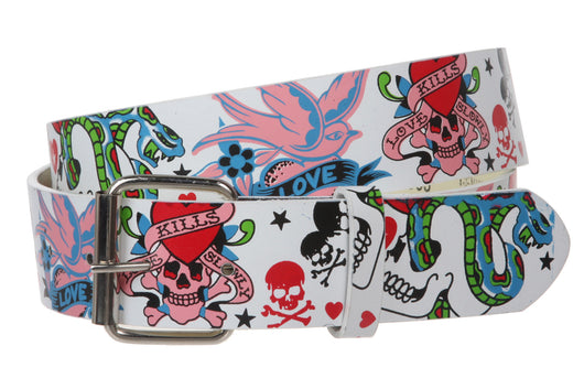 Snap On Love Kills Slowly & Skulls Tattoo Ink Artwork Fashion Belt