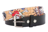 "Snap On 1 1/2"" Skull & Cross Bone Printed Punk Rock Studded Belt"