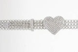 Clear Rhinestone Heart Metal Chain Belt