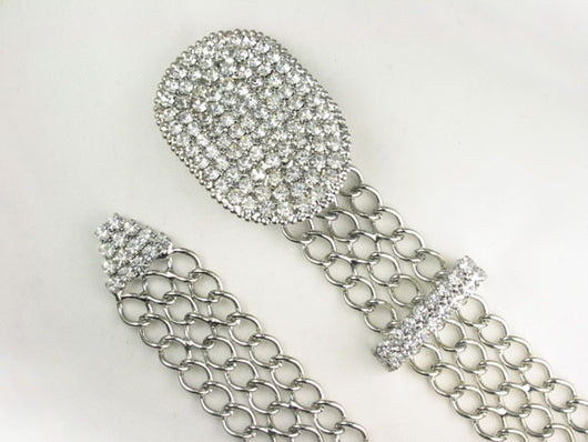 Ladies Oval Clear Rhinestone Belt Buckle Metal Chain Belt