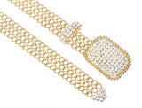 Women's Clear Rhinestone Rectangular Metal Chain Belt