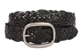 Womens Braided Woven Genuine Leather Belt