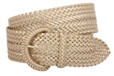 2 Inch Wide Hand Made Soft Metallic Woven Braided Round Belt