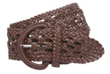 "2 1/2"" (65 mm) Wide Perforated Braided Synthetic Faux Leather Woven Round Belt"
