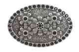 Oval Rhinestone Flower Belt Buckle