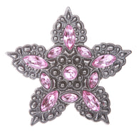 Five Petals Pink Rhinestone Flower Belt Buckle