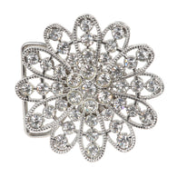 Twelve Petals Rhinestone Flower Belt Buckle