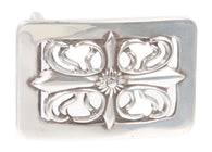 Rectangular Cut-out Flower Belt Buckle