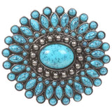 Oval Flower Turquois Stone Belt Buckle