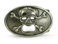 Oval Skull and Cross Bone Pirate Bottle Opener Belt Buckle