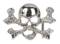 Rhinestone Skull & Cross Bone Belt Buckle