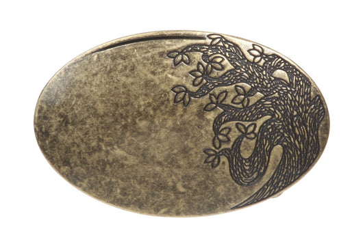 Oval Flower Tree Engraving Brass Belt Buckle