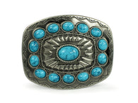 Oval Flower Turquoise Stone Belt Buckle