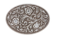 Oval Engraving Rhinestone Flower Belt Buckle