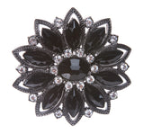 Black Rhinestone Flower Belt Buckle
