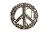 Round Perforated Floral Engraving Peace Sign Belt Buckle