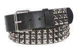 "1 3/4"" Snap On Three Row Punk Rock Star Metal Silver Studded Solid Leather Belt"