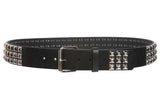 "1 3/4"" Snap On Three Row Punk Rock Star Metal Silver Studded Leather Belt"
