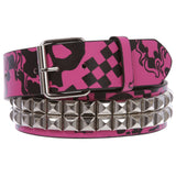Snap On Art work Skull Cross Bone Tattoo Print Punk Rock Silver Star Studded Leather Belt