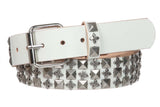 "1 1/2"" Snap on Punk Rock Star Studs & Cross Leather Belt"