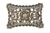 Perforated Rectangle Rhinestone Flower Belt Buckle