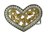 "1 3/4"" Rhinestone Heart Elastic Sequent Metal Stretch Belt"
