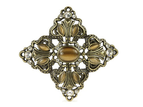 Tea Color Cat Eye Stone Flower Rhinestone Brass Belt Buckle