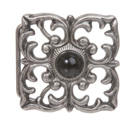 Cat Eye Perforated Flower Square Belt Buckle