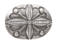 Oval Cross Rhinestone Flower Antique Silver Hammered Belt Buckle