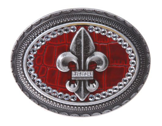 Oval Rhinestone Fleur De Lis with Croco Leather Top Belt Buckle