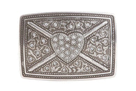 Rectangular Rhinestone Heart & Flower Engraving Belt Buckle