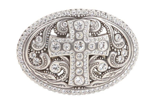 Perforated Oval Rhinestone Religious Cross & Flower Engraving Belt Buckle