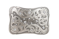 Rectangular Engraving Rhinestone Flower Belt Buckle
