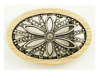 Oval Wood Frame Flower Belt Buckle