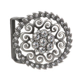 Rhinestone Flower Pattern Buckle