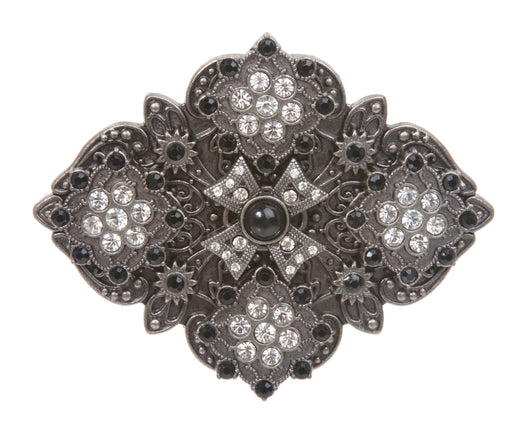 Rhombic Rhinestone Cat Eye Flower Belt Buckle