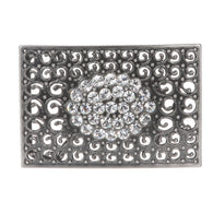 Rectangular Rhinestone Perforated Flower Belt Buckle