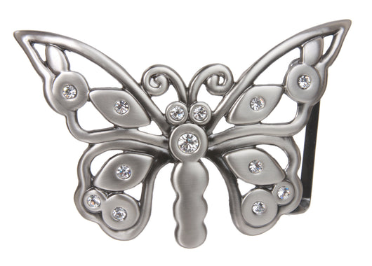 Perforated Rhinestone Butterfly Belt Buckle