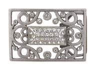Rectangular Rhinestone Flower Belt Buckle