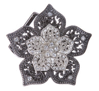 Perforated Rhinestone Flower Belt Buckle