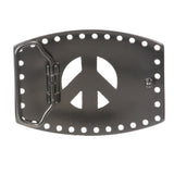 Rhinestone Peace Sign Belt Buckle